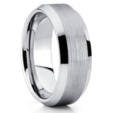 Silver Tungsten Ring,Brushed Finish,Men's Tungsten Ring,Beveled Edges