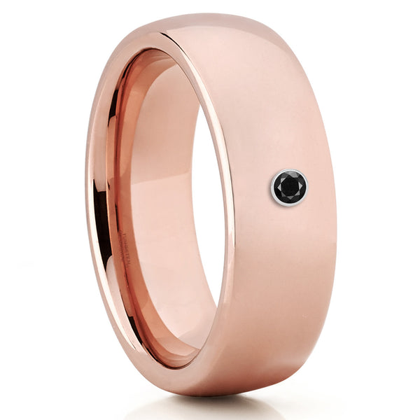 Tungsten Wedding Band - Rose Gold - Wedding Ring - Black Diamond Ring - Clean Casting Jewelry