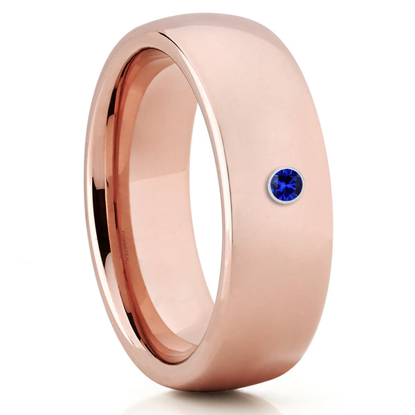 Rose Gold Tungsten Band - Unisex - Rose Gold Tungsten - Blue Sapphire Ring - Clean Casting Jewelry