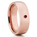 Rose Gold Tungsten Wedding Band - Ruby Tungsten Ring - Tungsten Carbide