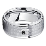 9mm - Black Tungsten Ring - Hammered Ring - Tungsten Band - Black Diamond