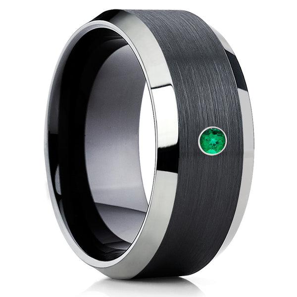 Black Tungsten Ring,Emerald Ring,Handmade,Brushed Tungsten Ring,Beveled Edges
