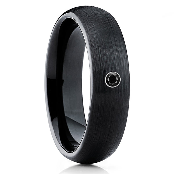 Black Diamond,Tungsten Wedding Band,Handmade,Men's Tungsten Ring,Black Ring