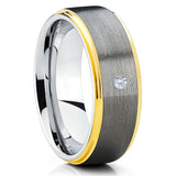 Gray Tungsten Wedding Band - White Diamond Tungsten Ring - Brush - Clean Casting Jewelry