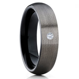 Black Tungsten Wedding Band - Gunmetal Ring - Gray Tungsten Ring - Brush - Clean Casting Jewelry