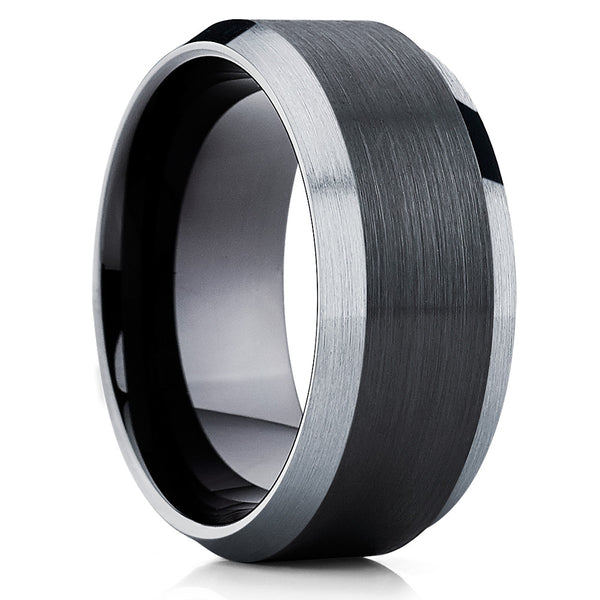 10mm,Black Tungsten Band,Black Men's Ring,Black Tungsten,Unique Tungsten Ring