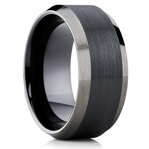 10mm - Black Tungsten Wedding Band - Men's Black Tungsten Ring - Black Ring - Clean Casting Jewelry