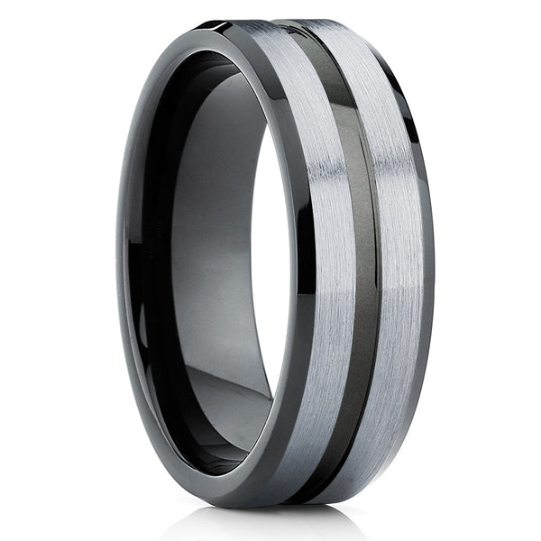 Gray Tungsten Wedding Band - Black Tungsten Ring - Men's Wedding Band - Clean Casting Jewelry