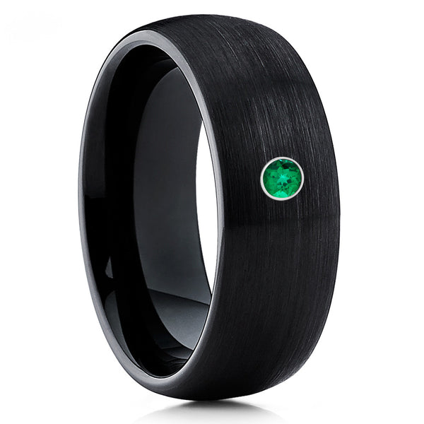 Black Tungsten Ring - Emerald - Tungsten Wedding Band - Men's Ring - Brush - Clean Casting Jewelry