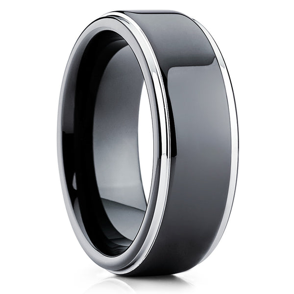 8mm Black Tungsten Wedding Ring - Shiny Polish - Tungsten Wedding Band - Clean Casting Jewelry