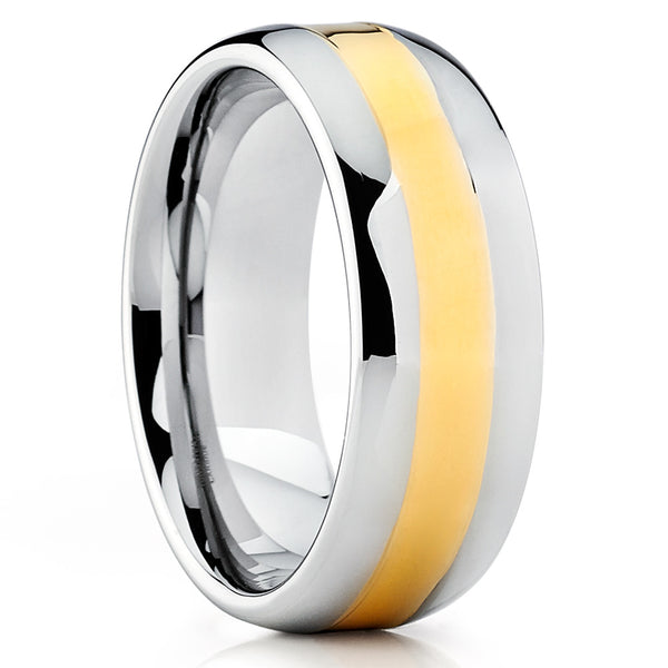 Yellow Gold Tungsten Ring - Tungsten Wedding Ring - Silver Tungsten Ring - Clean Casting Jewelry