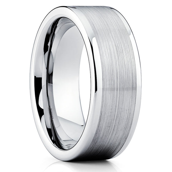 8mm,Brushed Tungsten Ring,Silver Brushed Tungsten,Unique Tungsten Ring,Handmade