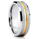 Yellow Gold Tungsten - 7mm - Tungsten Wedding Band - Silver Brush Ring - Clean Casting Jewelry