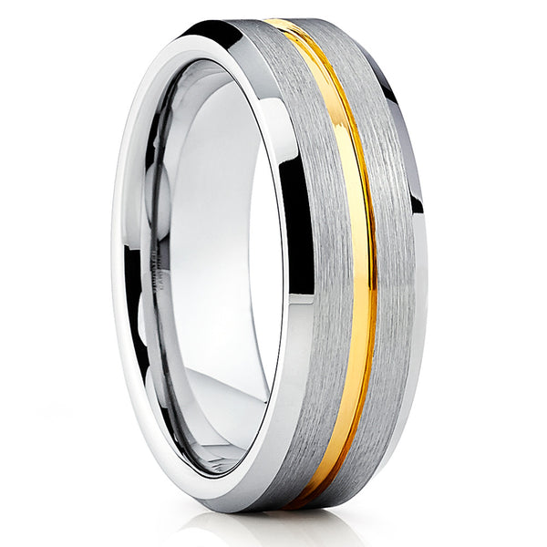 7mm,Yellow Gold Tungsten Ring,Yellow Gold Tungsten Band,Brushed Finish