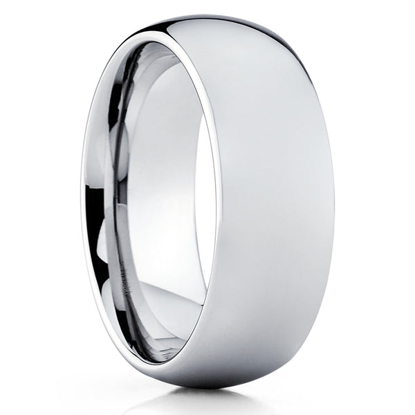 Tungsten Wedding Band - Silver Tungsten Ring - Dome Tungsten Band - Clean Casting Jewelry