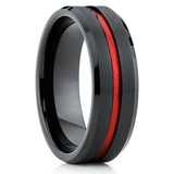 Red Tungsten Wedding Band - Black Ring - Tungsten Wedding Ring 8mm - Clean Casting Jewelry