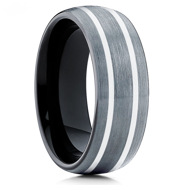 Gray Tungsten Wedding Band - Black Tungsten Ring - Men's Ring Brushed
