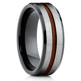 Maroon Tungsten Wedding Band - Black Ring - Tungsten Wedding Ring 8mm - Clean Casting Jewelry