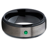 Black Tungsten Ring - Emerald Tungsten Ring - Gunmetal Ring - Gray Tungsten - Clean Casting Jewelry