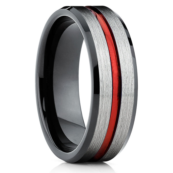Red Tungsten Ring - Red Wedding Band - Tungsten Wedding Band - Black Ring - Clean Casting Jewelry