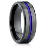 Blue Tungsten Wedding Band - Gunmetal Tungsten Ring - Men's Wedding Band - Clean Casting Jewelry