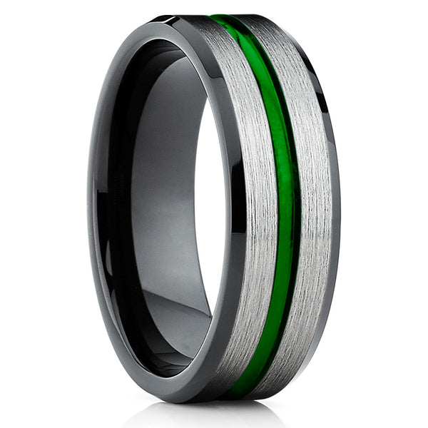 Green Tungsten Ring - Green Wedding Ring - Tungsten Wedding Band Brush - Clean Casting Jewelry