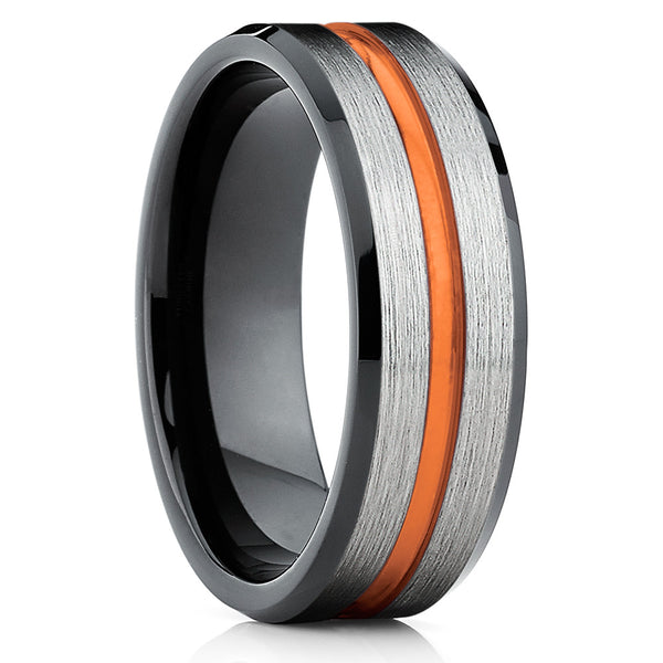 Orange Tungsten Wedding Band - Black Tungsten Ring - Tungsten Wedding Ring - Clean Casting Jewelry