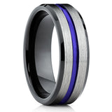 Purple Tungsten Wedding Band - Black Tungsten Ring - Men's Wedding Band