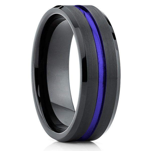 Black Tungsten Ring - Purple Ring  - Tungsten Wedding Band Unique - Brushed - Clean Casting Jewelry