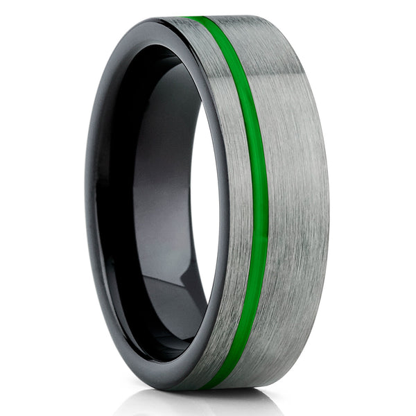 Green Tungsten Wedding Band - Tungsten Wedding Ring - Gray Wedding Band - Clean Casting Jewelry