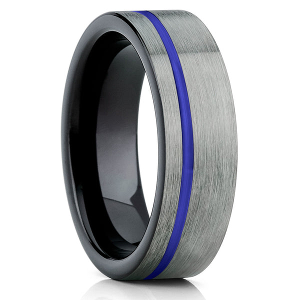 Purple Tungsten Wedding Band - Black Tungsten Ring - Tungsten Wedding Ring - Clean Casting Jewelry