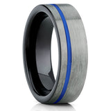 Gray Gunmetal,Blue Tungsten Ring,Handmade,Tungsten Wedding Band,Brushed Finish