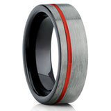 Red Tungsten Ring,Red Ring,Tungsten Wedding Band,Gunmetal Ring