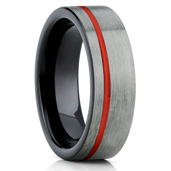 Red Tungsten Wedding Band - Gunmetal Tungsten Ring - Tungsten Carbide - Clean Casting Jewelry