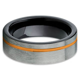 Orange Tungsten Ring - Orange Wedding Band - Gunmetal Ring - Black Tungsten - Clean Casting Jewelry