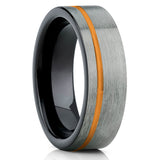 Orange Tungsten Wedding Band - Gray Tungsten Ring - Tungsten Carbide - Brush - Clean Casting Jewelry