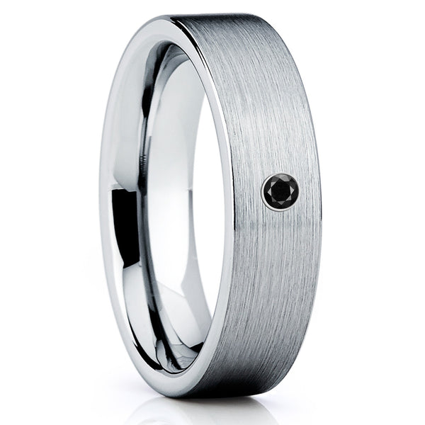 Black Diamond Tungsten Ring - Handmade - Tungsten Wedding Band - Brush - Clean Casting Jewelry