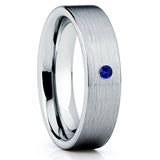 Blue Sapphire,Tungsten Wedding Band,Brushed Finish,Handmade,Silver Tungsten