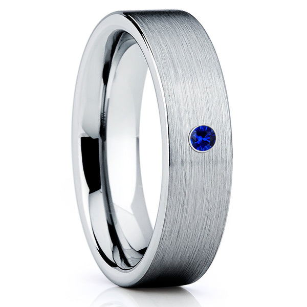 Blue Sapphire Band - Tungsten Wedding Band - Tungsten Ring - Brush - Clean Casting Jewelry