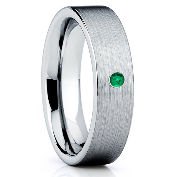 Silver Tungsten Ring - Emerald Tungsten Ring - Brush Tungsten Ring - Clean Casting Jewelry