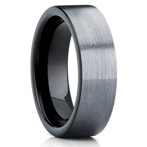 Black Tungsten Ring - Gray Tungsten Ring - Wedding Band - Black Ring - Clean Casting Jewelry