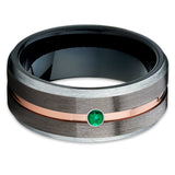 Emerald Tungsten Ring - Gunmetal Tungsten Ring -  Rose Gold Tungsten Ring - Clean Casting Jewelry