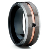 Black Diamond Tungsten Ring - Rose Gold Tungsten Ring - Gunmetal Tungsten Ring