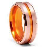 Orange Tungsten Wedding Ring - Orange Wedding Band - Tungsten Wedding Ring - Anniversary Ring - Orange Wedding Band - Comfort Fit