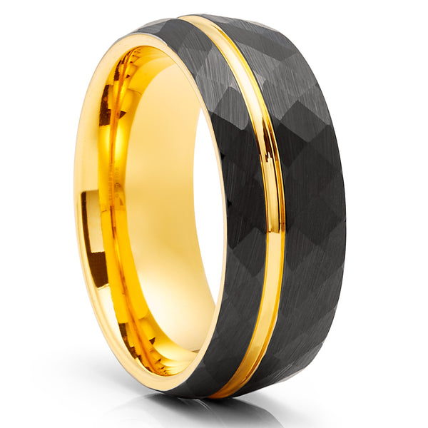 Yellow Gold Tungsten Ring - Hammered Ring - 8mm Black Tungsten Ring - Engagement Ring
