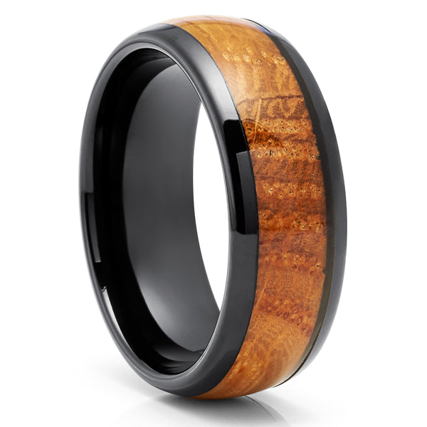 Whiskey Barrel Wedding Rings - Whiskey Barrel Tungsten Ring - Black Tungsten Ring - 8mm