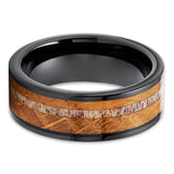 Whiskey Barrel Wedding Rings - Whiskey Barrel Tungsten Ring - Deer Antler Ring - 8mm