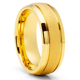 Yellow Gold Tungsten Wedding Ring - 8mm Tungsten Wedding Band - Tungsten Carbide