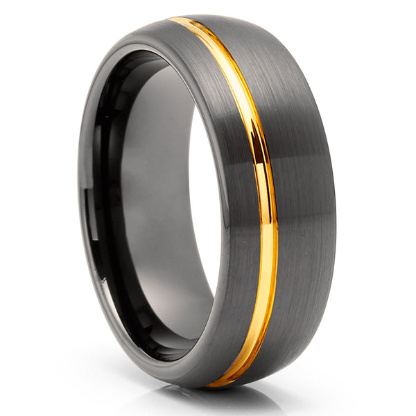 Yellow Gold Tungsten Wedding Band - Gunmetal Tungsten Wedding Ring - Anniversary Ring - Yellow Gold Ring - Engagement Ring - Comfort Fit