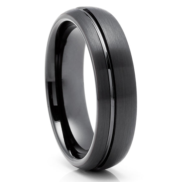 Men's Black Tungsten Wedding Ring - Tungsten Wedding Ring - Black Tungsten Ring - Anniversary Ring - Engagement Ring - 8mm & 6mm